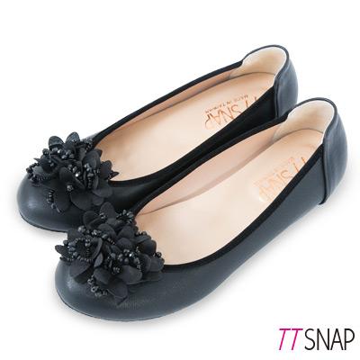 TTSNAP娃娃鞋-MIT花漾綻放珠花增高坡跟鞋 黑/藍