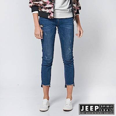 JEEP 女裝 時尚造型修身牛仔九分褲