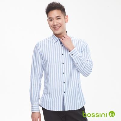 bossini男裝-圖案長袖襯衫03條紋藍