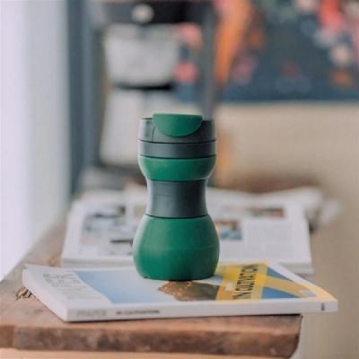 仁舟淨塑 矽密咖啡杯500ml-義式(綠黑)(快)