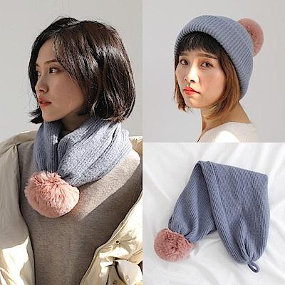 梨花HaNA 韓國風格實用可愛毛球圍脖毛帽二用款