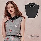OUWEY歐薇 率性質感蕾絲手縫鑽造型領片(黑)