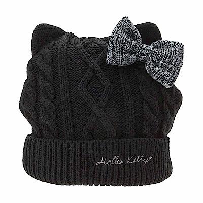 Sanrio HELLO KITTY女用貓耳造型保暖針織帽(格紋蝴蝶結)