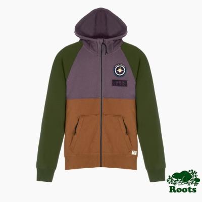 Roots男裝-曠野探索系列 撞色刷毛連帽外套-暖紫