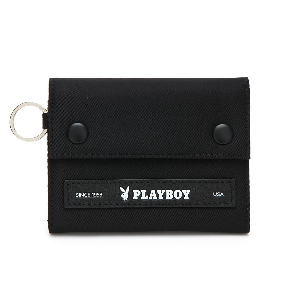 PLAYBOY- 短夾 allblack系列 -黑色