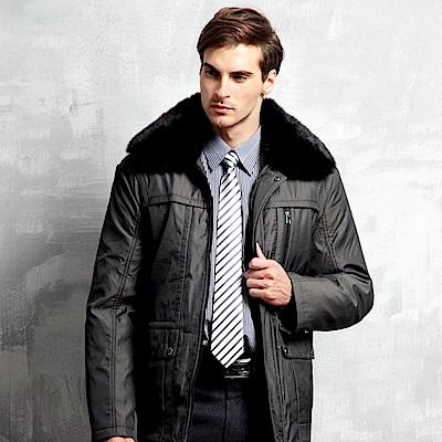 PAUL MAURIAT波爾.瑪亞 兔毛領二件式風衣外套(棕色/黑色)
