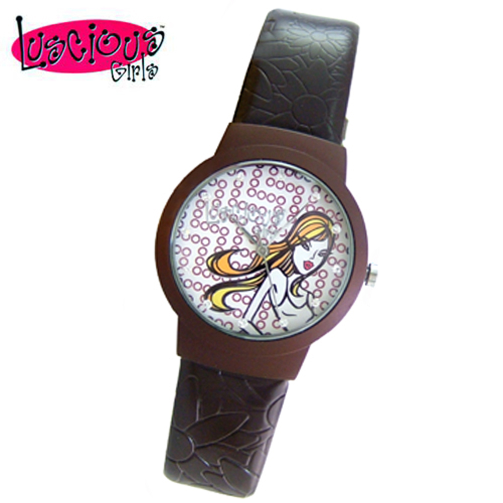 Luscious Girls浪漫少女 玩美女人時尚晶鑽女錶(LG020B濃咖啡)