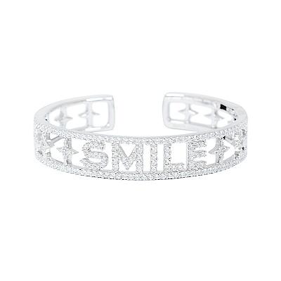 apm MONACO法國精品珠寶 閃耀銀色SMILE鑲鋯鏤空手環