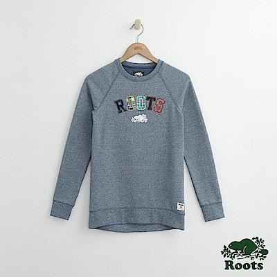Roots -女裝- 周年系列格紋ROOTS圓領長袖上衣 - 藍