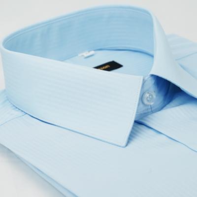 金‧安德森 藍色暗條紋吸排窄版長袖襯衫fast