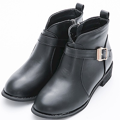 River&Moon短靴-顯瘦前V口金屬單扣拉鍊短靴-黑