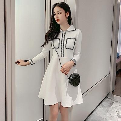 DABI 韓國風收腰POLO領純色針織長袖洋裝