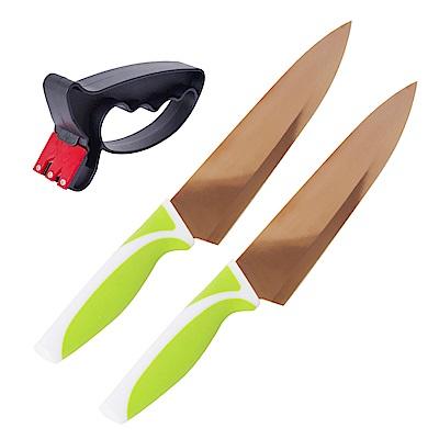 EG Home 宜居家 鍍鈦金屬玫瑰金刀組(玫瑰金刀x2+磨刀器x1)