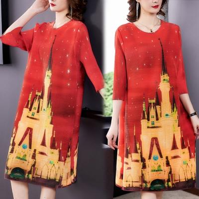 【KEITH-WILL】(預購)女人話題個性壓褶風格印花洋裝