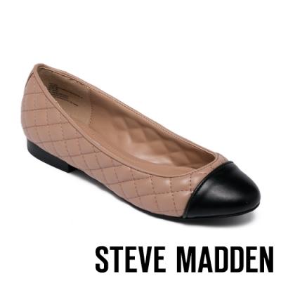 STEVE MADDEN-CAPTION 拼接菱格紋皮質平底女鞋-黑膚色