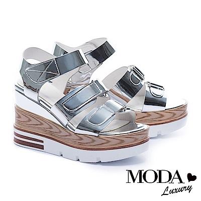 涼鞋 MODA Luxury 夏日個性鏡面條帶厚底涼鞋-銀