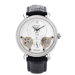 Manlike 曼莉萊克 奢華噴射雙渦輪機械錶 銀色 黑色皮帶