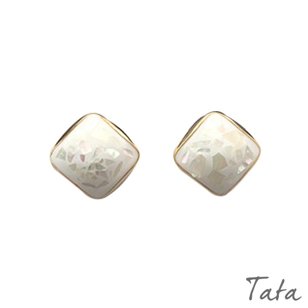 方形幾何貝殼耳環 TATA