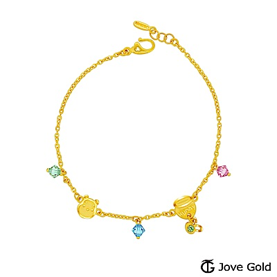 Disney迪士尼金飾 維尼系列-維尼一窩蜂黃金/水晶手鍊