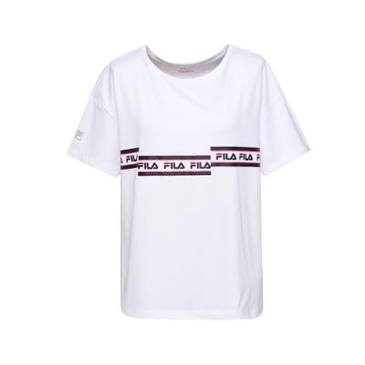FILA 女吸濕排汗圓領T恤-白 5TEU-1314-WT