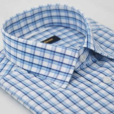 【金安德森】藍色格紋窄版短袖襯衫fast