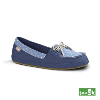 SANUK 女款US7 點點拼接綁帶娃娃鞋(藍色)