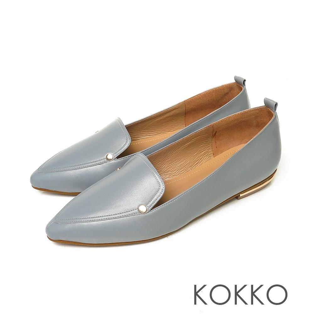 KOKKO無負擔小方頭素面真皮彎折平底鞋經典藍