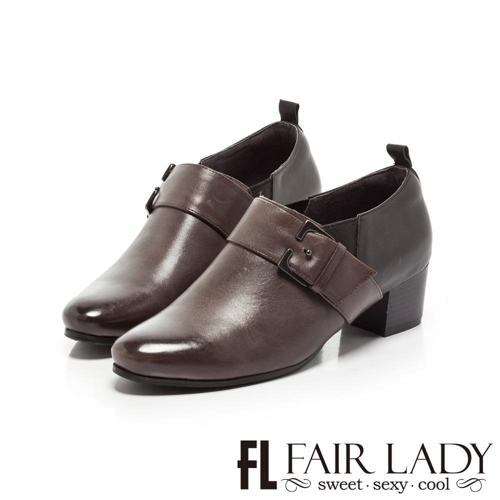 FAIR LADY 雙色皮革拼接扣帶粗跟踝靴 黑