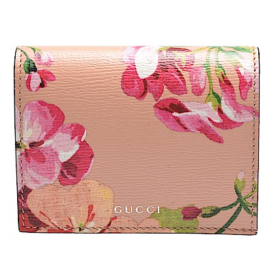 GUCCI Blooms系列花卉圖案對摺暗釦信用卡/短夾(杏粉色)