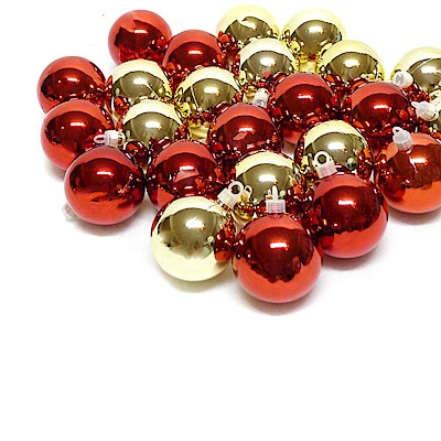 摩達客 聖誕60mm(6CM)紅金雙色亮面電鍍球24入吊飾組