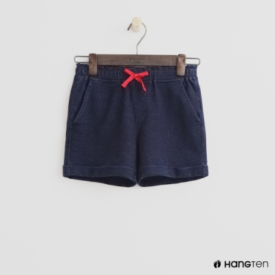Hang Ten -童裝 - 仿舊刷色鬆緊短褲-深藍