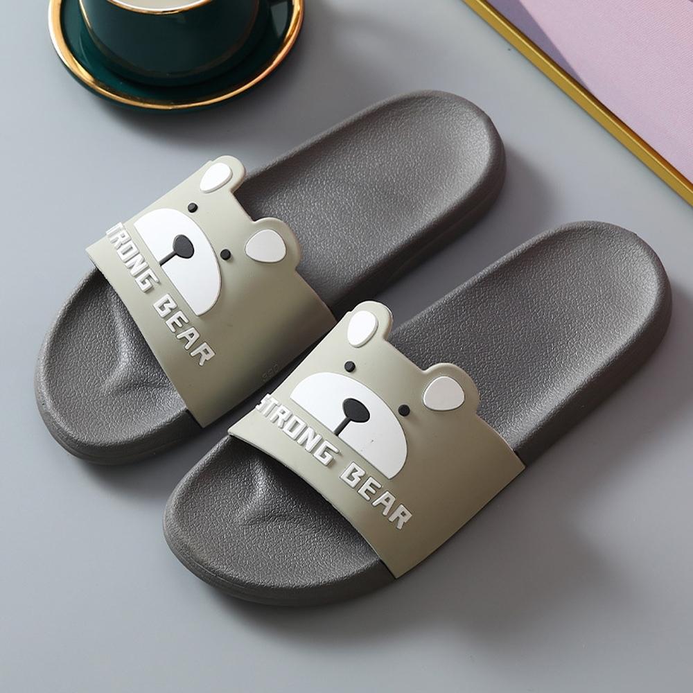 BUNNY LIFE 小熊造型防滑室內拖鞋浴室拖鞋(女/男款) (灰色)