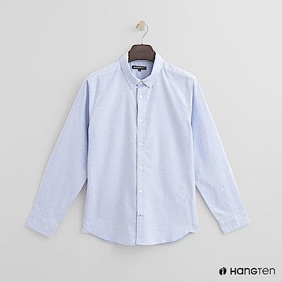 Hang Ten - 男裝 - 簡約純色棉質襯衫 - 藍