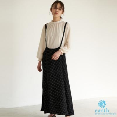 earth music 【SET ITEM】點點/素面連身吊帶洋裝+雪紡長袖上衣