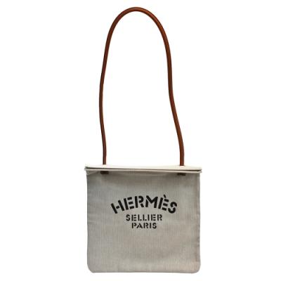 HERMES 經典ALINE TOTE BAG系列字母LOGO帆布肩背包(米白)
