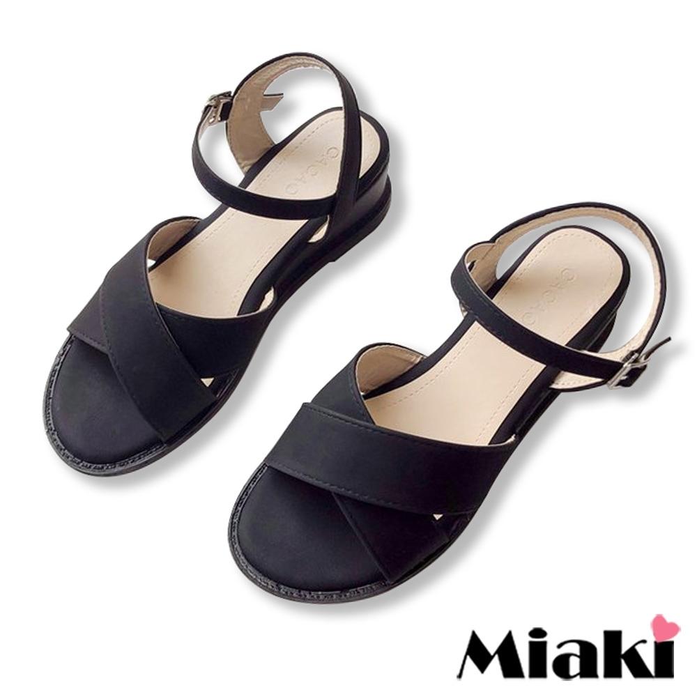 Miaki-涼鞋粉系百搭寬帶楔型鞋-黑