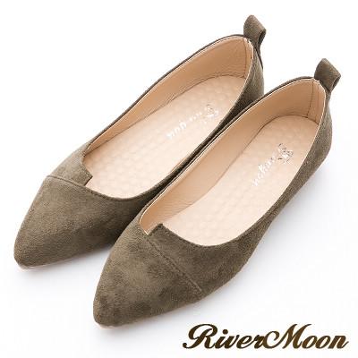 River&Moon素雅百搭-細絨造型剪裁尖頭鞋-綠