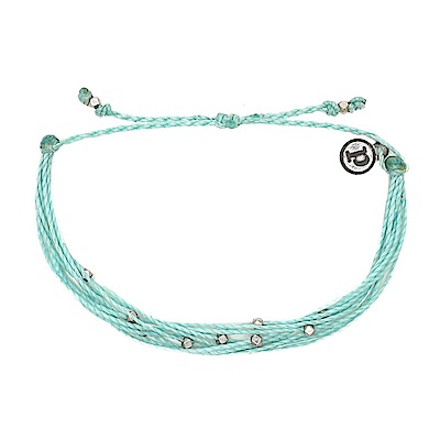 Pura Vida 美國手工 winterfresh水藍色基本串珠款 可調式手鍊