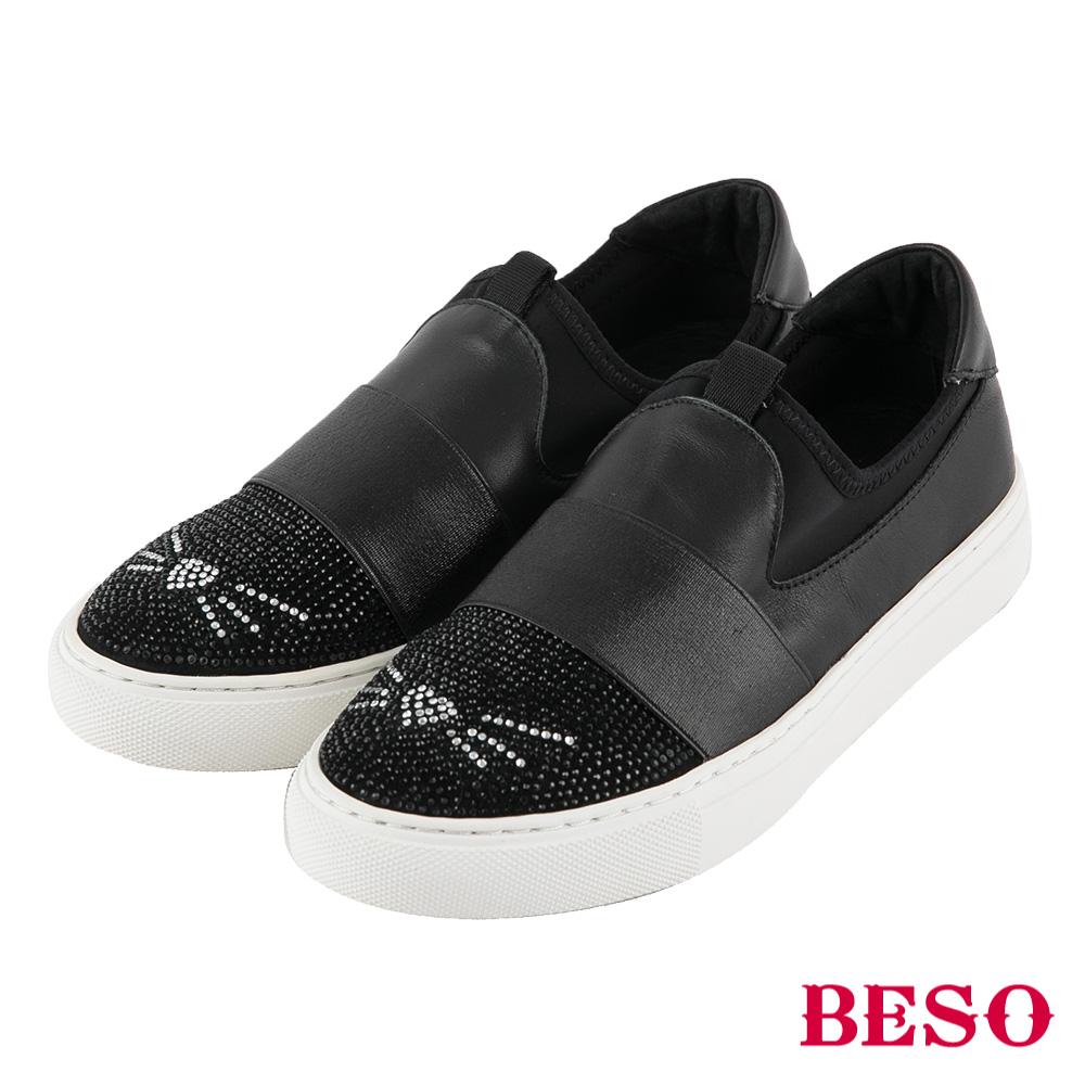 BESO 貓咪童心 燙鑽簍空飛織休閒鞋~黑