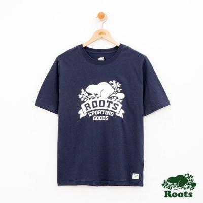 男裝Roots 庫柏旗幟短袖T恤-藍