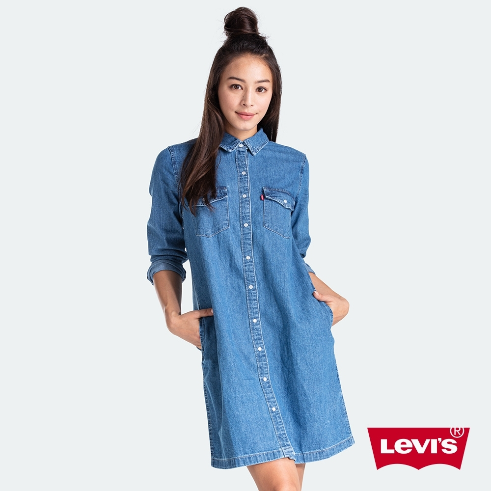 Levis 女款 牛仔洋裝 高質感珍珠釦 中藍水洗