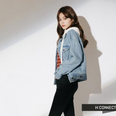 H:CONNECT 韓國品牌 女裝-連帽短版牛仔外套-藍