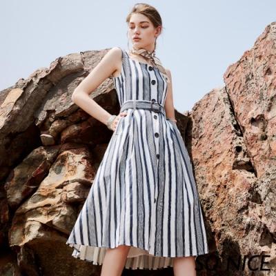 SO NICE氣質條紋排釦無袖棉麻洋裝