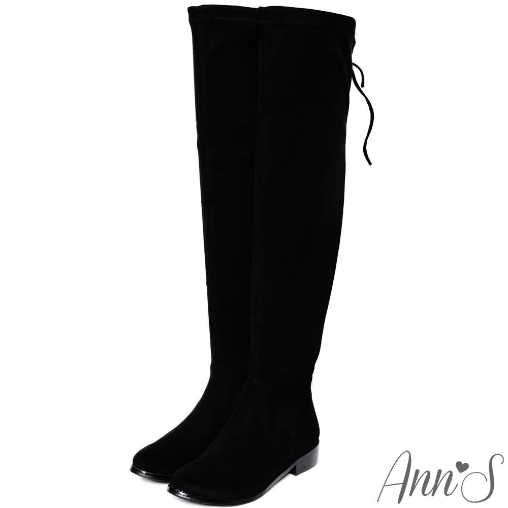 Ann'S棉花糖版-微性感平底彈力側拉鍊過膝靴-細絨黑