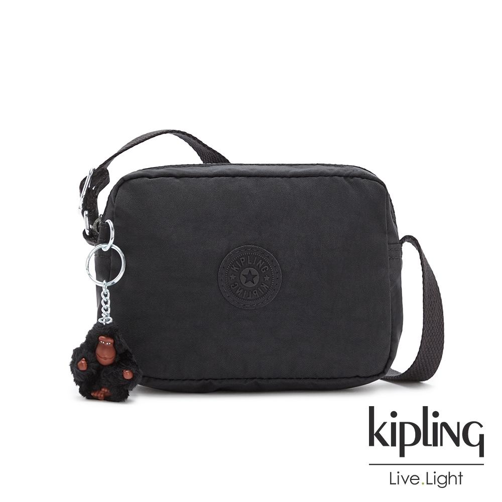 Kipling 質感黑簡約造型拉鍊方包-BETHANY