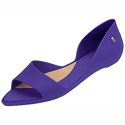 MELISSA  極簡魚口平底鞋-藍紫