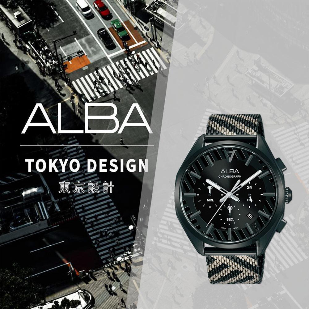 ALBA 雅柏 限量東京街頭計時手錶(AT3H07X1/VD53-X374SD)-42mm