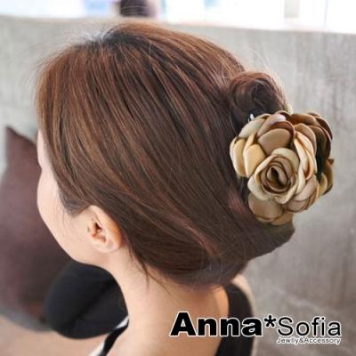 【滿額再7折】AnnaSofia 雙色綻瓣 純手工中型髮抓髮夾(米褐系)