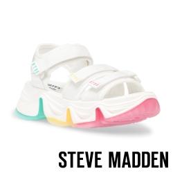 STEVE MADDEN-CHAKRA 亮眼繽紛魔鬼氈厚底運動涼鞋-白色