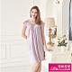 睡衣 彈性珍珠絲質 居家連身睡衣(95001-19)紫銀灰-台灣製造 蕾妮塔塔 product thumbnail 1